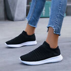 Womens Mesh Trainers Breathable Flats Gym Sport Sneaker Slip On Shoes Size 3-6.5