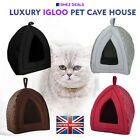 Pet Cat Dogs Igloo Houses Fleece Soft Warm Luxury Washable Sleeping Cave Bed UK