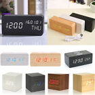Modern Wooden Wood Digital LED Desk Alarm Clock Thermometer Wireless Charger US