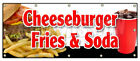 CHEESEBURGER FRIES SODA BANNER SIGN lunch dinner special food value