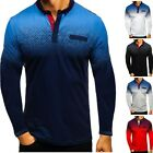 US Polo Shirts Mens Muscle Tee Tops Long Sleeve Autumn Golf Plain Casual T Shirt