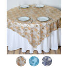 """72x72"""" Lace Netting Satin Flowers TABLE OVERLAY Designer Wedding Party Linens"""