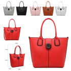 Ladies Stylish Fx Leather Bucket Handbag Large Button Shoulder Bag Tote MZ-9819