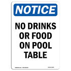OSHA Notice - No Drinks Or Food On Pool Table Sign | Heavy Duty Sign or Label $9.98 USD on eBay
