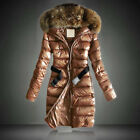 Women Ladies  Long Winter Coat Padded Quilted Puffer Jacket Fur Hooded Plus Size