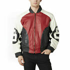 8 Ball Bomber white black and red color Leather Jacket- All Sizes $199.99 USD on eBay