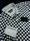 Bugatchi Classic Fit Gingham Check Sport Shirt Black White