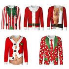 Adults Mens Novelty 3D Christmas Xmas T-Shirt Funny Ugly Sweater Festive Gift
