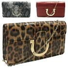 New Women's Mock Croc Leopard Snakeskin Horseshoe Detail Clutch Bag