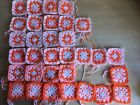 "(Oranges) 32 x Traditional Crochet Granny squares 3"" x 3"" approx."