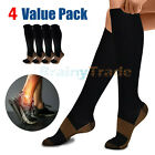 4 Pairs Compression Socks Women Men Nursing Wide Calf Sport Stockings 20-30mmHg