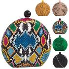 New Ladies Snakeskin Reptile Design Faux Leather Hard Compact Clutch Bag