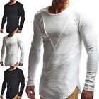 Mens Frayed Cotton Linen T-Shirt Casual Long Sleeve Muscle Tee Long Blouse Tops image