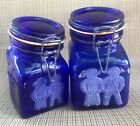 Crownford NY Granny's Products - Cobalt Blue Glass Canisters Set  1.5lb & 2.5lb