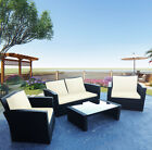 Rattan Garden Furniture Set 4 Piece Patio Sofa Table Chairs With Cushion 3 Color