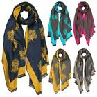Ladies New Adorable Oak Tree Print Two-Toned Cashmere Winter Scarves Shawls
