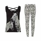 Avon Zebra PJs Vest Top and Jogger Bottoms Cotton Pyjamas Sizes 6/8 and 10/12