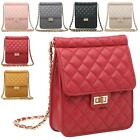 New Ladies Quilted Faux Leather Twist Lock Chain Party Shoulder Clutch Bag