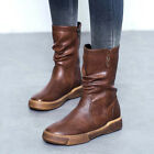 UK Womens Leather Mid Calf Boots Flats Ladies Vintage Round Toe Shoes Size 4-7