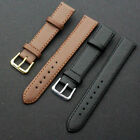 Quality Leather Black Brown Wristwatch Watch Strap Band Womens Mens SC image