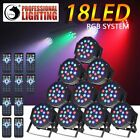 8/10PCS RGB 18/36 LED Par Stage Lighting DMX Disco Club Party Wedding Uplighting
