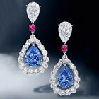 Elegant Drop Earrings for Women 925 Silver Jewelry Aquamarine A Pair/set image