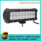 2x 9inch 54W LED Light Bar Flood Beam For Truck Front Bumper 4X4WD Offroad Lamp