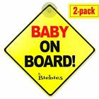 2 Pack Baby On Board Window Decal Safety Magnet Suction Cup Car Sign Reflective