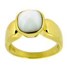 Ring 375 Gold (9 Karat) massiv 4,8g Jade Weiß 2ct 56 (17,8 mm Ø) Sogni d´oro