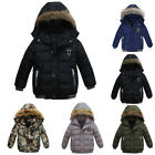 Boys Kids Winter Coat Hooded Warm Cotton Fur Padded Parka Jacket Outerwear 1-5T