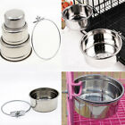 UK Stainless Steel Food Water Bowl For Crates Cages Coop Dog Parrot Bird Pet