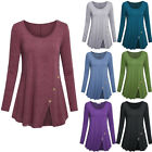Womens Long Sleeve Tunic Tops Split Pullover Casual Solid Loose T Shirt Blouse