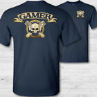 PC gamer crossbones t-shirt, gaming skull shirt, esports gaming badge tee shirt