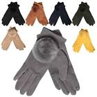 New Synthetic Suede Faux Fur Pom-Pom Detail Ladies Soft Winter Gloves