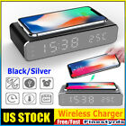 3 IN 1 LED Electric Alarm Clock Wireless Charger Charging Station Thermometer US