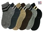 Lot 2-4 Mens Knit Slipper Socks With Grippers Winter Thermal Non-Slip House 9-14