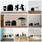 Cartoon  Black Mice Pattern Mousehole Wall Stickers Stairs Mural Home Decoration
