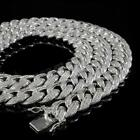 18K White Gold Plated Out ICED Lab Diamond Cuban Chain Link Miami Necklace 15mm image