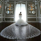 New White/Ivory 1T Long Bridal Veil Cathedral Lace edge Wedding Veils With Comb
