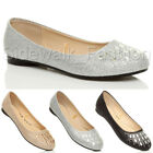 Womens ladies flat low heel diamante glitter ballerina dolly shoes pumps size