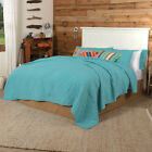 VHC Rustic Cotton Quilt King Queen Bedspread Blanket Turquoise or Orange  image