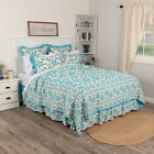 VHC Brands Floral Bed Quilt King Queen Twin Patchwork Bedspread  Blue or Sage image