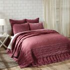 King Queen Twin Quilt Bedspread Cotton Quilted Burgundy VHC Famhouse Country image