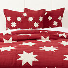 VHC Farmhouse Sham Kent Bedding Red Chambray Cotton Star Patchwork image