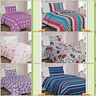 KIDS BED SHEET SET TWIN PRINTED DESIGN MICROFIBER FLAT FITTED SHEET PILLOWCASE