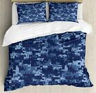 Camo Comforter Set, Militaristic Digital Effected Armed Forces Pattern Grunge Fa