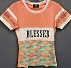 "Women's Camp ""Blessed"" Camo T-shirt - Peach/Mint Green"