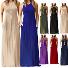 Womens Sleeveless Loose Plain Maxi Dresses Casual  Dresses With Pockets