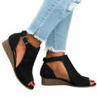 ⭐Womens Peep Toes Buckle Anke Boots Sandals Ladies Wedge Heels Summer Shoes Size