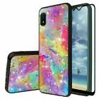 For Galaxy A10e A20 A30 A50 Case Rainbow Marble Glitter Bling TPU+Tempered Glass